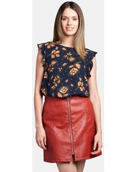 Vero Moda - Red Faux Leather Skirt - Lyst