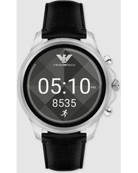 Emporio Armani - Art5003 Smartwatch Black Leather Watch - Lyst