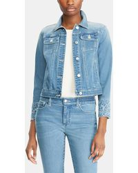 Lauren by Ralph Lauren - Denim Jacket With Embroidered Sleeves - Lyst