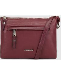 Pepe Moll - Wo Small Burgundy Crossbody Bag With An Outer Pocket - Lyst