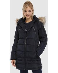 Vero Moda - Quilted Coat With Fur-trimmed Hood - Lyst