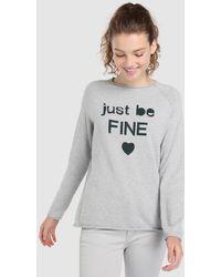 Green Coast - Long Sleeve Sweater With Slogan - Lyst