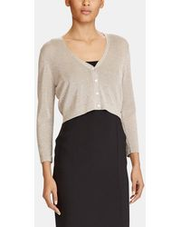 Lauren by Ralph Lauren - Gold Cardigan With French Sleeves - Lyst