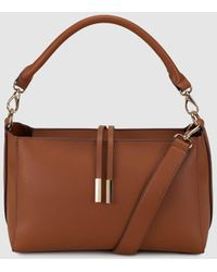 El Corte Inglés - Small Brown Hobo Bag With Front Straps - Lyst
