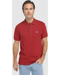 Lacoste - Red Short Sleeve Piqué Polo Shirt - Lyst