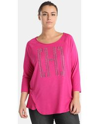 Couchel - Plus Size Fuchsia T-shirt With Studs - Lyst