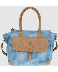 Caminatta - Denim Handbag With Brown Details - Lyst