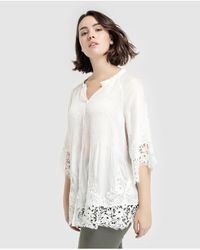 e2b76a1a02dd70 Couchel - Plus Size Smocking And Crochet Blouse - Lyst