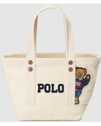 b8122c8bbc Polo Ralph Lauren - Beige Canvas Mini Tote Bag With Bear Patch - Lyst