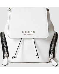 Guess - Small White Backpack With Outer Pockets - Lyst