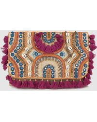 El Corte Inglés - Wo Camel Crossbody Bag With Embroidered Fabric And Shell Detail - Lyst