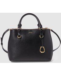 Lauren by Ralph Lauren - Black Leather Handbag With Long Detachable Strap - Lyst