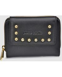 Pierre Cardin - Black Leather Zip-up Wallet With Foldover Flap - Lyst