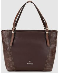 Pepe Moll - Brown Tote Bag With Mock-croc Details - Lyst