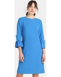 Yera - Blue Dress With Frills On The Cuffs - Lyst