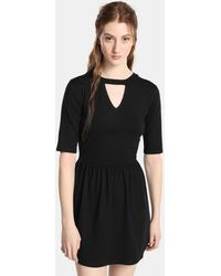 Green Coast - French-sleeve Dress With Front Vent - Lyst