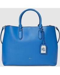 Lauren by Ralph Lauren - Blue Leather Tote Bag With Metallic Pendant - Lyst