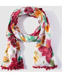 Caminatta - Pink Floral Print Cotton Foulard - Lyst
