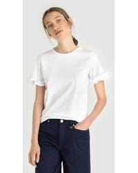 Yera - Short Sleeve T-shirt With Frills - Lyst
