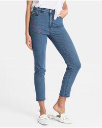 Yera - Skinny Jeans With Rhinestone Flowers - Lyst
