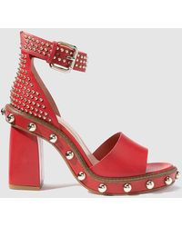 RED Valentino - Red High-heel Sandals With Decorative Studs - Lyst