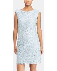 Lauren by Ralph Lauren - Pale Blue Crochet Dress - Lyst