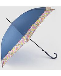 Caminatta - Long Navy Blue Umbrella With Printed Detail - Lyst