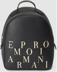 Emporio Armani Small Black Backpack With Zip