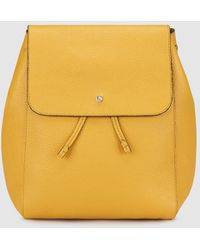 Gloria Ortiz - Iggy Yellow Leather Backpack With Foldover Flap - Lyst