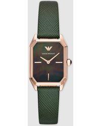 Emporio Armani Ar11149 Green Leather Watch