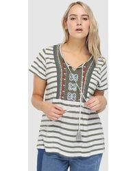 Couchel - Plus Size Short Sleeved Striped T-shirt - Lyst