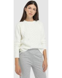 Green Coast - Long Sleeve Cable Stitch Sweater - Lyst