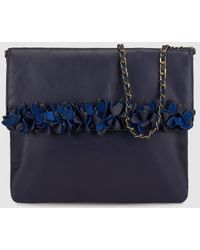 Yera - Navy Blue Leather Clutch With Raised Flowers - Lyst
