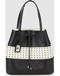 e0a48292bb Lauren by Ralph Lauren - Two-tone Black And White Leather Shopper Bag With  Perforations