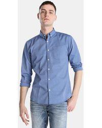 Green Coast - Plain Blue Slim-fit Shirt - Lyst