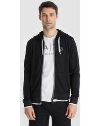 Armani Exchange - Blue Casual Jacket With Hood - Lyst