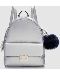 Guess - Wo Grained Silver Backpack With Pompom - Lyst