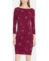 Lauren by Ralph Lauren - Draped Floral Print Dress - Lyst