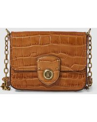 Lauren by Ralph Lauren - Small Brown Mock-croc Leather Crossbody Bag With Flap - Lyst