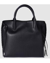 El Corte Inglés - Medium Black Shopper Bag With Side Plaiting - Lyst