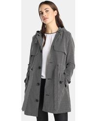 Armani Exchange - Black And White Checked Trench Coat - Lyst