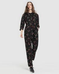 Armani Exchange - Long Floral Print Jumpsuit - Lyst