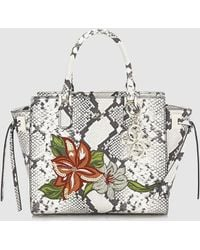 Guess - Tote Bag With Snakeskin Print And Embroidery - Lyst