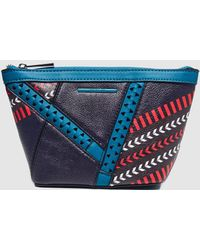 Jo & Mr. Joe - Blue Printed Eco-leather Toiletry Bag With Zip - Lyst