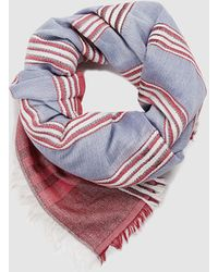 Esprit - Blue Cotton Foulard With Contrasting Stripes - Lyst