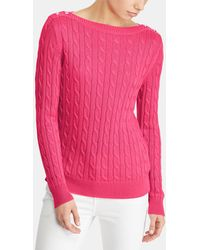 Lauren by Ralph Lauren - Cable Stitch Jumper With Buttons On The Shoulders - Lyst