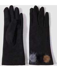 El Corte Inglés - Black Gloves With Contrasting Fur Pompoms - Lyst