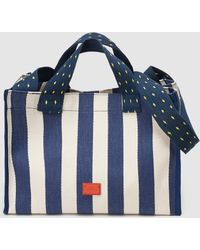 Gloria Ortiz - Summer 1920 Small Two-tone Striped Cotton Beach Tote In Navy Blue And White - Lyst