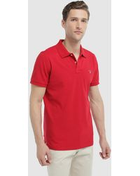 7ff4aaa2d1 GANT Pique Cotton Polo Shirt in Black for Men - Lyst