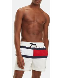 22d38a4a323b Lyst - Tommy Hilfiger Denim Flag Swim Shorts in Red for Men